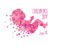Children`s day. June 1. Vector congratulation card. Children`s day. June 1 Stock Photography