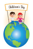 Childrens Day on planet. It is a illustration of Childrens day royalty free illustration