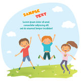 Children`s design with happy jumping kids Royalty Free Stock Photo