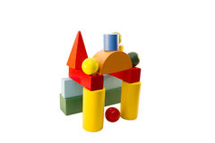 Children's designer cubes on the Montessori method. On a white background Royalty Free Stock Image
