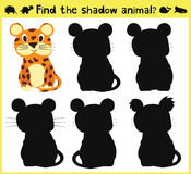 Children's developing game to find an appropriate shadow animal fun baby Jaguar. Vector. Illustration Royalty Free Stock Photography