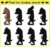Children's developing game to find an appropriate shadow of the animal the mole. Vector Stock Photography