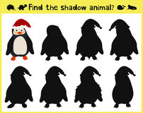 Children's developing game to find an appropriate shadow animal of the penguin. Vector. Illustration Royalty Free Stock Image