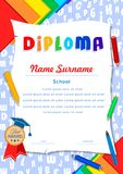 Child diploma with letters, scrolls, pencils, notebooks and pen. Children`s diploma with letters, scrolls, pencils, notebooks and pen, colored paper, medal and Stock Photography