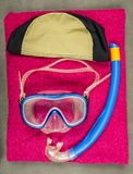 Children`s diving set in the indoor swimming pool. royalty free stock image