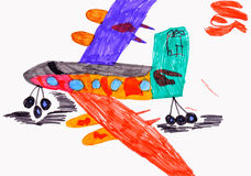 Children's drawing. airplane Stock Image