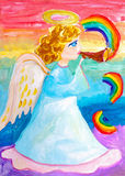 Children`s drawing. Angel plays trumpet Royalty Free Stock Images