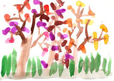 Children's drawing autumn park Royalty Free Stock Image