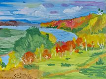 Children`s drawing `The banks of the Volga River in the autumn.` Gouache on paper. Naive Art. Abstract art. Painting gouache on paper. Children`s creativity royalty free illustration