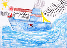 Children's drawing. battleship at sea Royalty Free Stock Photo