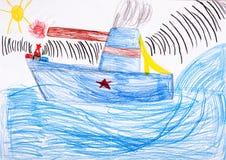 Children's drawing. battleship at sea. Children's sketch. battleship at sea stock illustration
