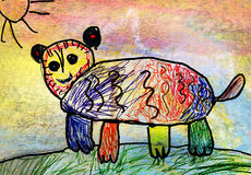 Children's drawing of a bear Royalty Free Stock Images