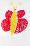 Children's drawing big funny butterfly Royalty Free Stock Image