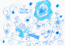 Children`s drawing. Bird and pattern in blue Royalty Free Stock Photos