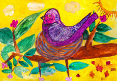 Children`s drawing.  bird sitting in  nest on  tree branch Stock Photography