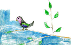 Children's drawing bird on a tree Royalty Free Stock Image