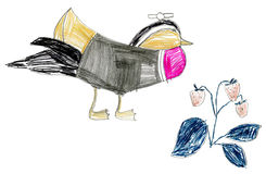 Children's drawing birds Royalty Free Stock Photos