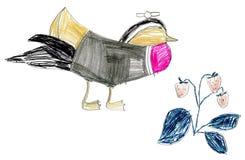 Children's drawing birds Royalty Free Stock Photos