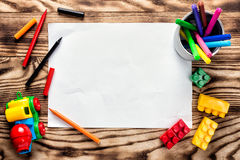 Children's drawing blank. With space for text or greeting background Stock Photo