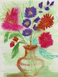 Children`s drawing `Bouquet for my mother on March 8.` Still life. Wet watercolor on paper. Naive Art. Abstract art. royalty free illustration