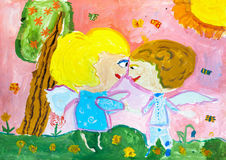 Children`s drawing. Boy and girl angels facing each other Royalty Free Stock Image