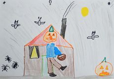 Free Children`s Drawing: Boy In A Pumpkin Costume And Basket In His Hand. Halloween Concept Royalty Free Stock Photography - 125450637