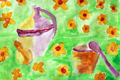 Children's drawing with brown old pitcher Stock Photos