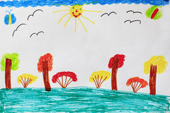 Children`s drawing with bushes trees and birds Stock Images