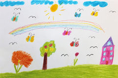 Children's drawing with butterflies and flowers Stock Images