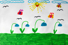 Children's drawing with butterflies and flowers Royalty Free Stock Photo
