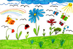 Children's drawing with butterflies and flowers Royalty Free Stock Image