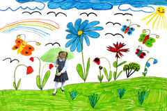 Children's drawing with butterflies and girl Stock Photos