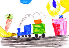 Children's drawing. car goes Royalty Free Stock Photos