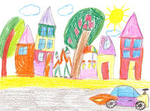 Children`s drawing of the car. Children`s drawing of the racing car and spectators Royalty Free Stock Photo