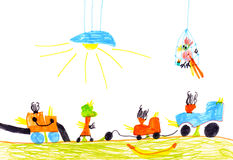 Children's drawing. cars set Royalty Free Stock Image