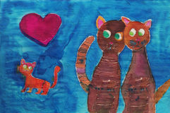 Children's drawing of cat family Royalty Free Stock Images