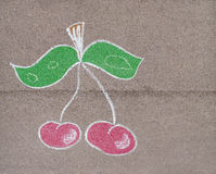 Children's drawing  with chalk of cherry Royalty Free Stock Images