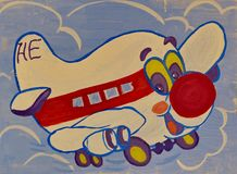 Children`s drawing `Cheerful airplane`. Gouache on paper. Naive Art. Abstract art. Painting gouache on paper. Children`s creativity vector illustration