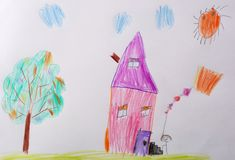 Children`s drawing. Childrens Picture - Me and My Home. What can a children`s picture tell. Psychological testing of the royalty free stock images