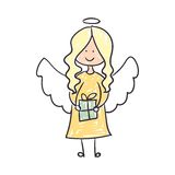 Children's Drawing of an Christmas Angel Royalty Free Stock Images
