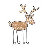 Children's Drawing of a Christmas Reindeer Stock Image