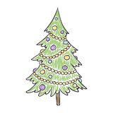 Children's Drawing of a Christmas Tree Stock Photos