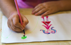 Children's drawing. Colorful children's drawing closeup view Stock Images