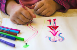 Children's drawing. Colorful children's drawing closeup view Royalty Free Stock Image