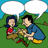Children's drawing of a couples at a picnic Stock Photography