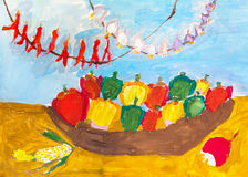 Children`s drawing. dish with vegetables and garlic low Royalty Free Stock Photo