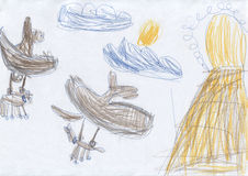 Children`s drawing dragons are prey to the lair on the cliff Stock Photography