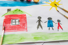 Children`s drawing about the family Royalty Free Stock Photos