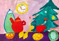 Children`s drawing. Christmas still life Stock Image