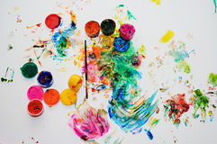 Children's drawing finger paints Royalty Free Stock Image